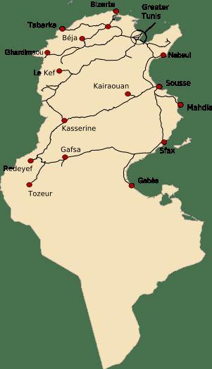Mapa sieci kolejowej w Tunezji