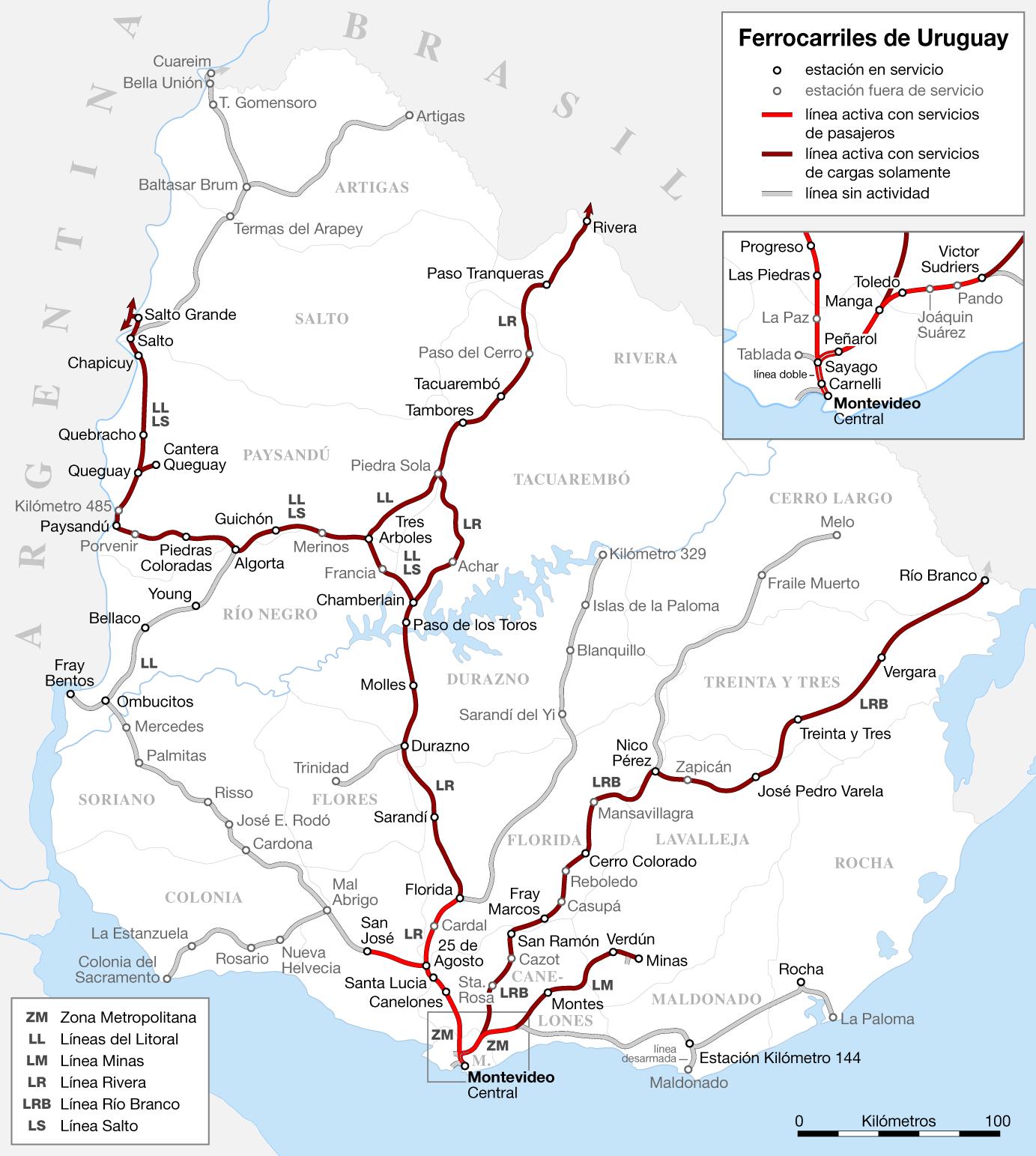 Mapa sieci kolejowej Urugwaju