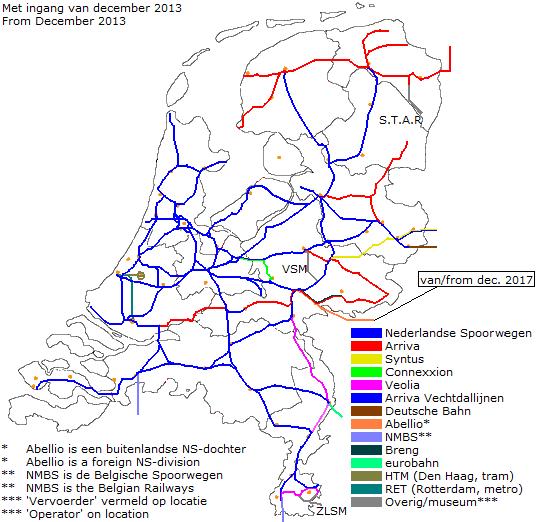 Mapa sieci kolejowych w Holandii