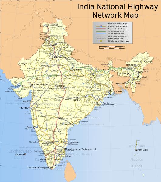 Mapa sieci krajowych autostrad w Indiach