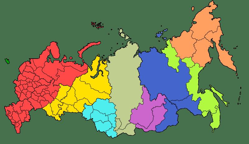Mapa stref czasowych w Rosji