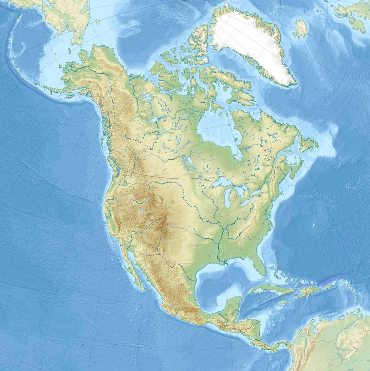 Mapa topograficzna Ameryki Północnej