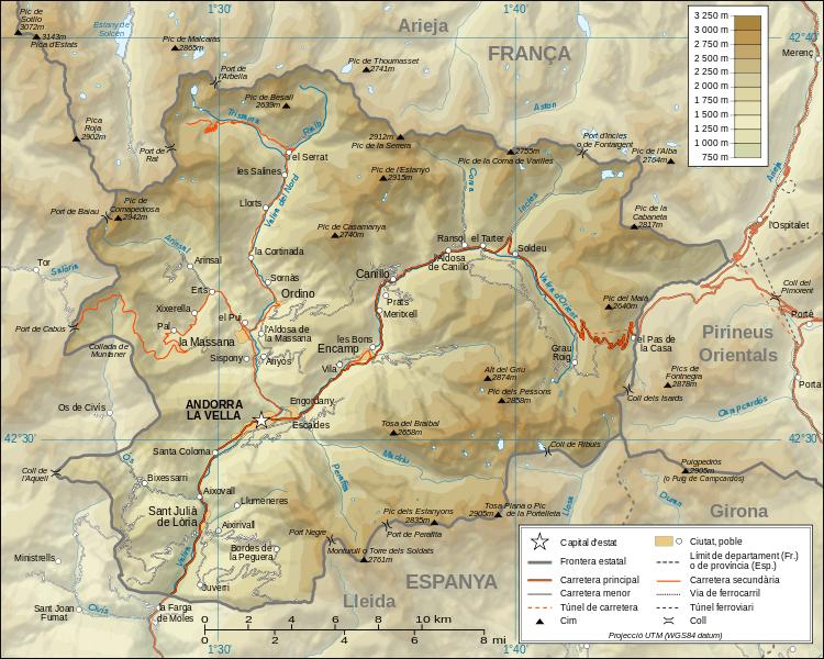 Mapa topograficzna Andory