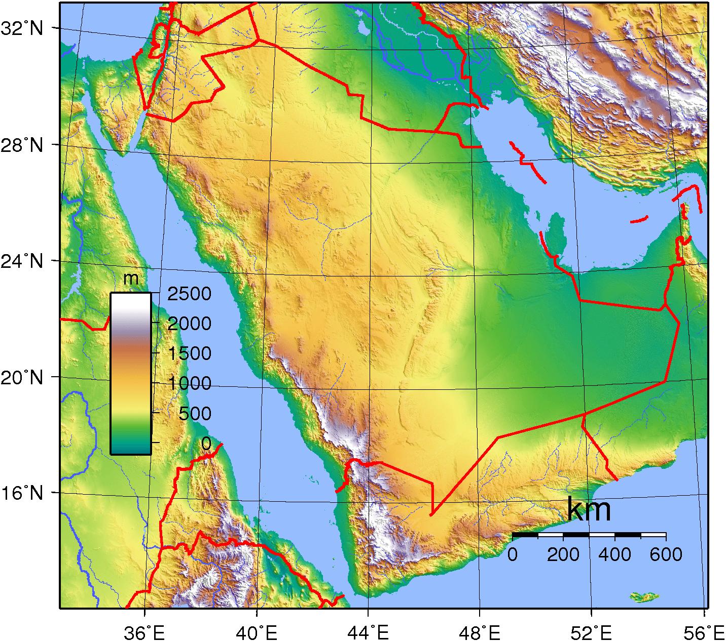 Mapa topograficzna Arabii Saudyjskiej