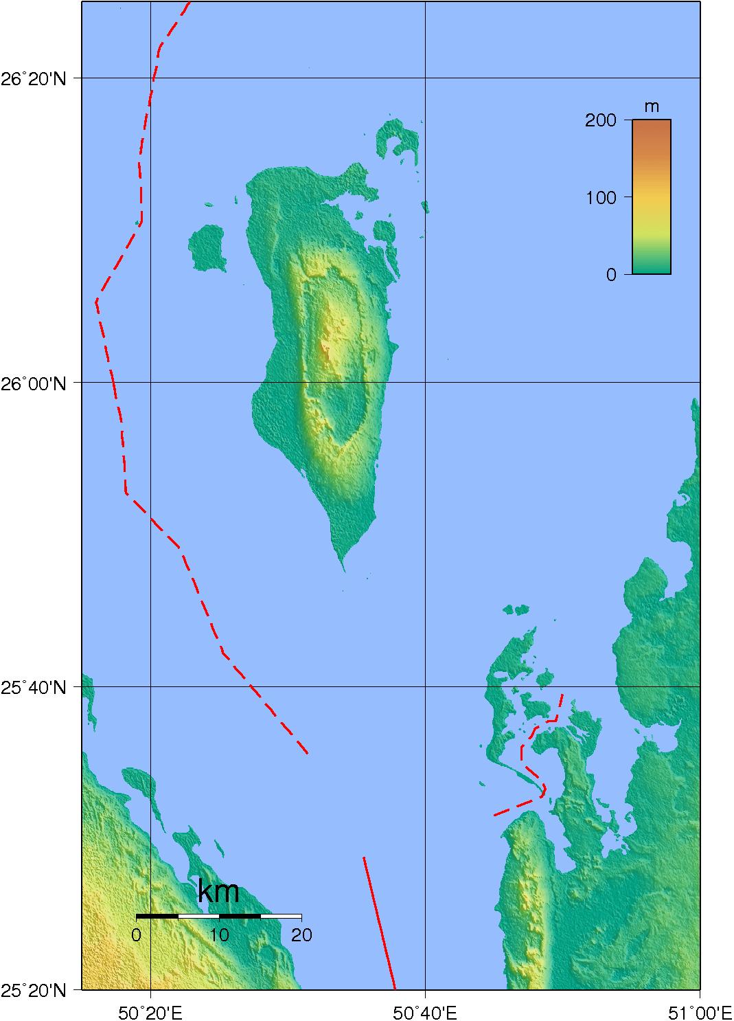 Mapa topograficzna Bahrajnu