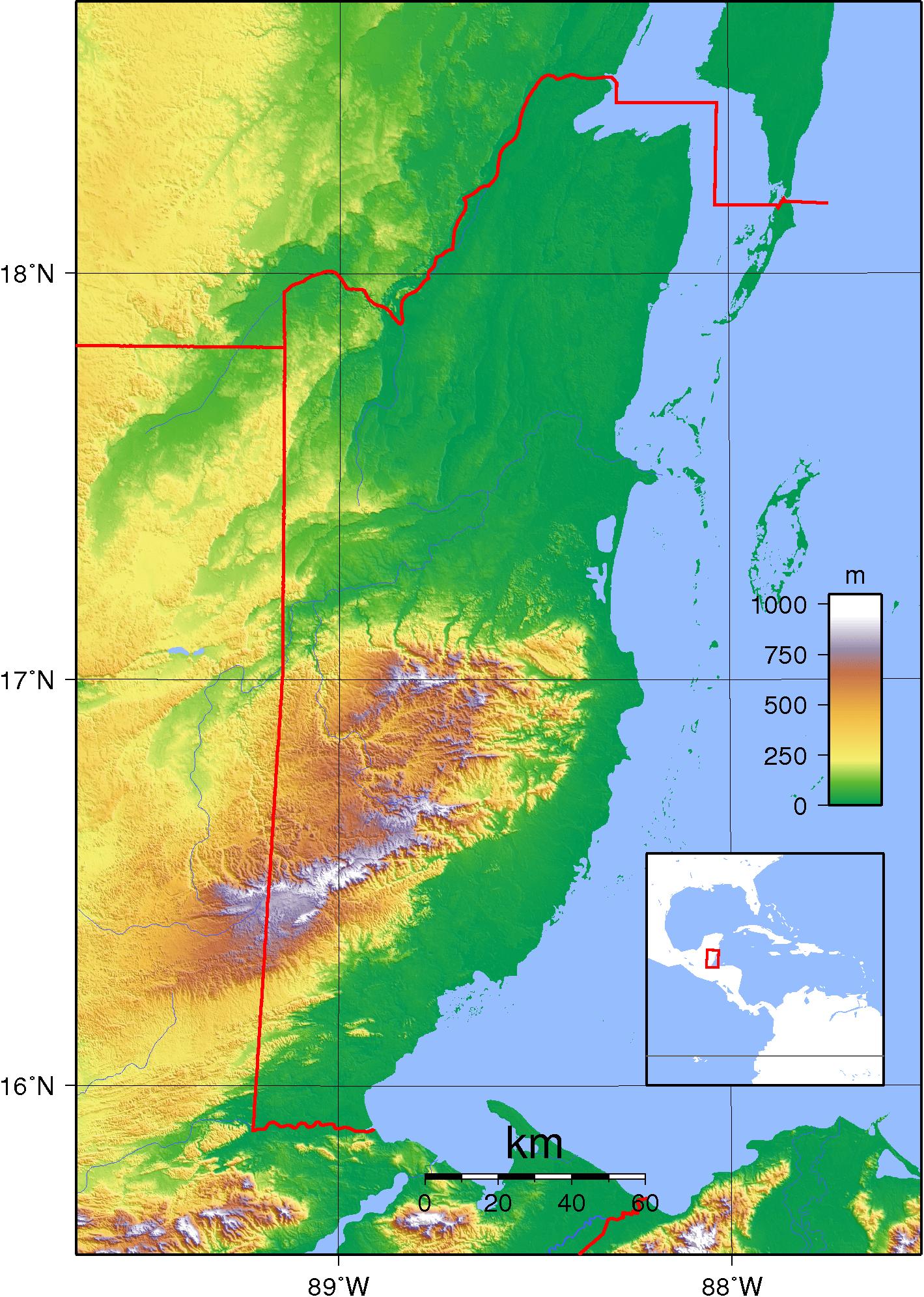 Mapa topograficzna Belize