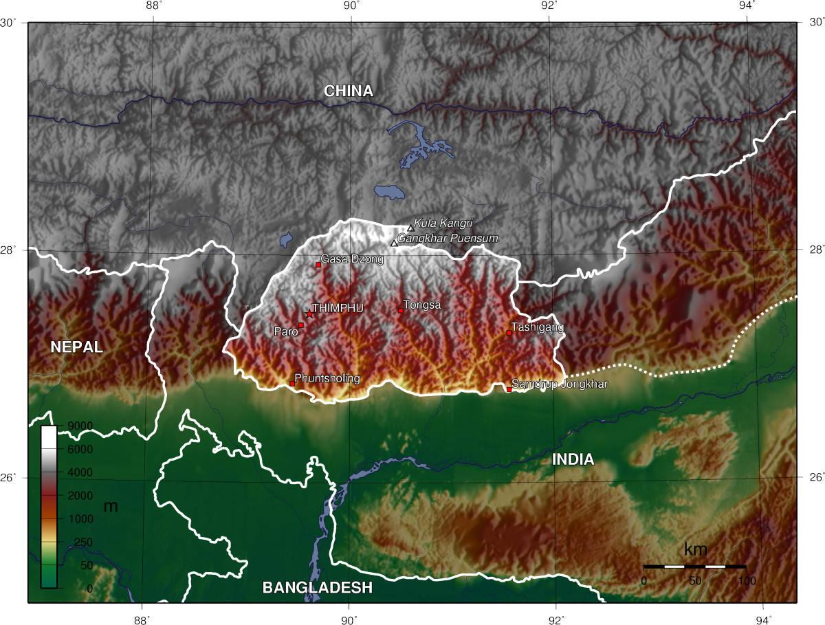 Mapa topograficzna Bhutanu