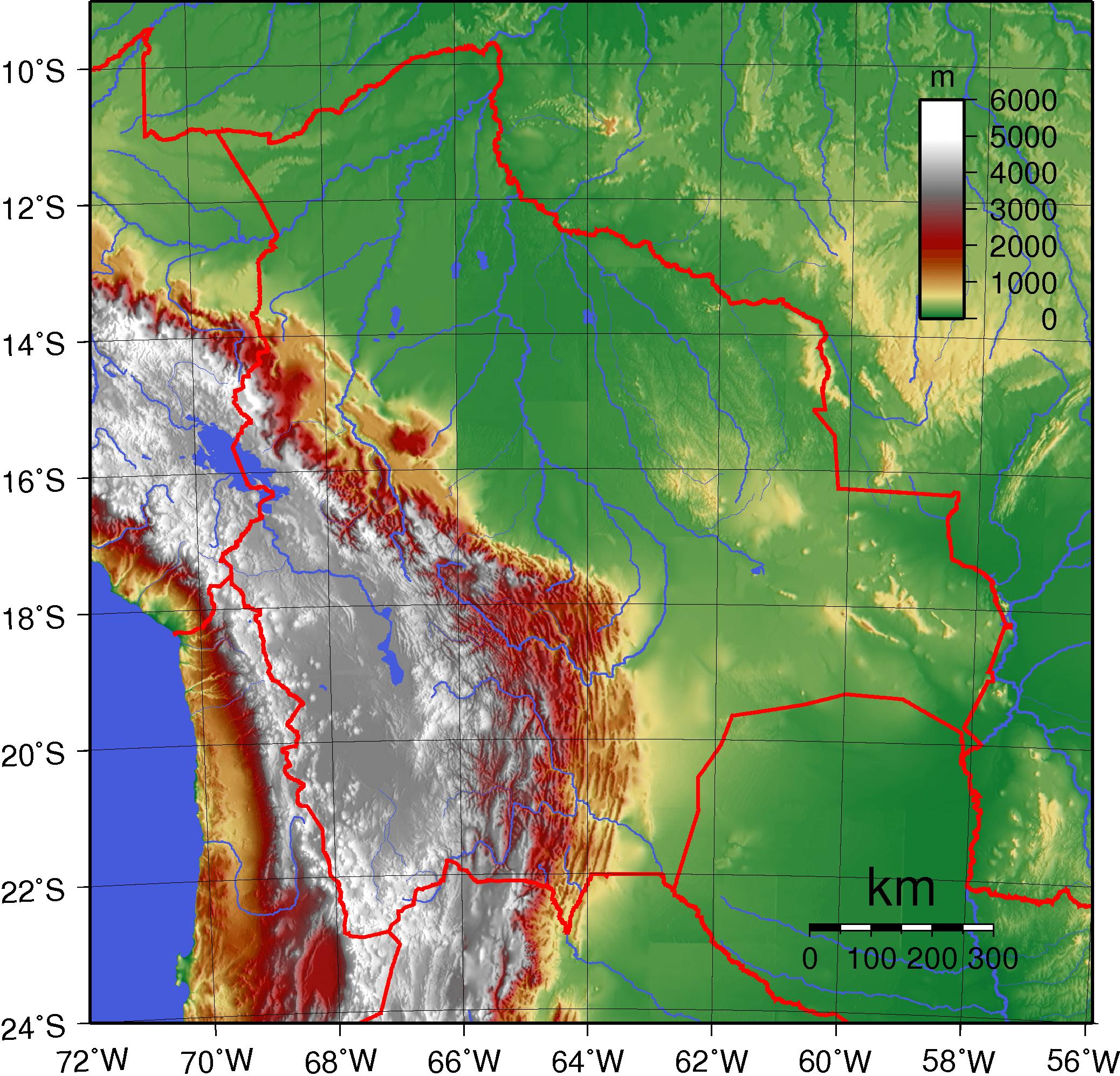 Mapa topograficzna Boliwii