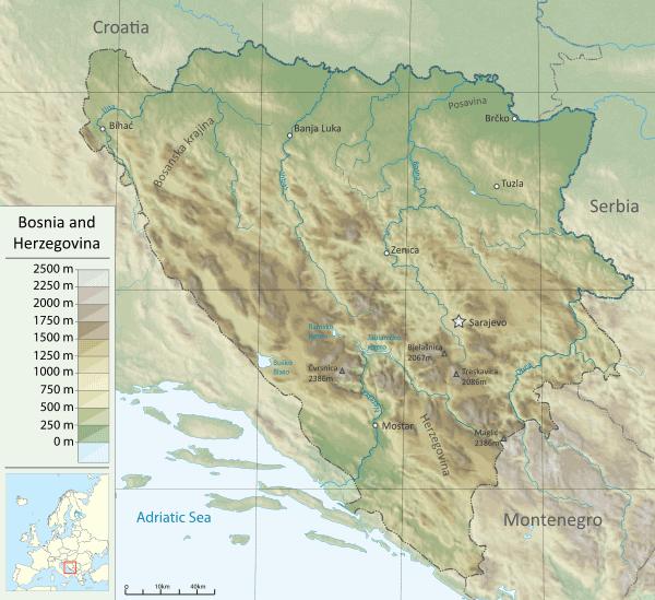 Mapa Bośni i Hercegowiny - topografia