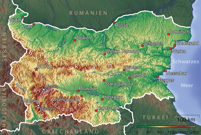 Mapa topograficzna Bułgarii