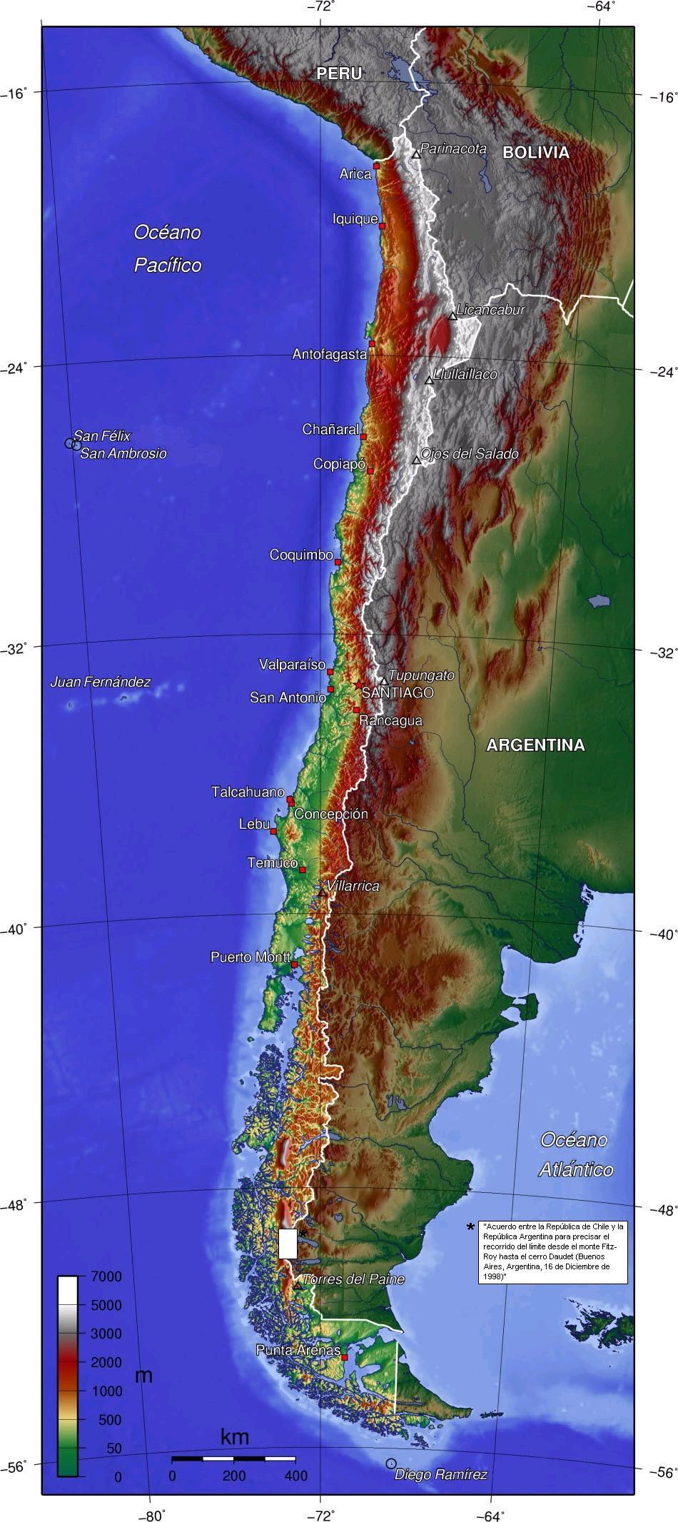 Mapa topograficzna Chile