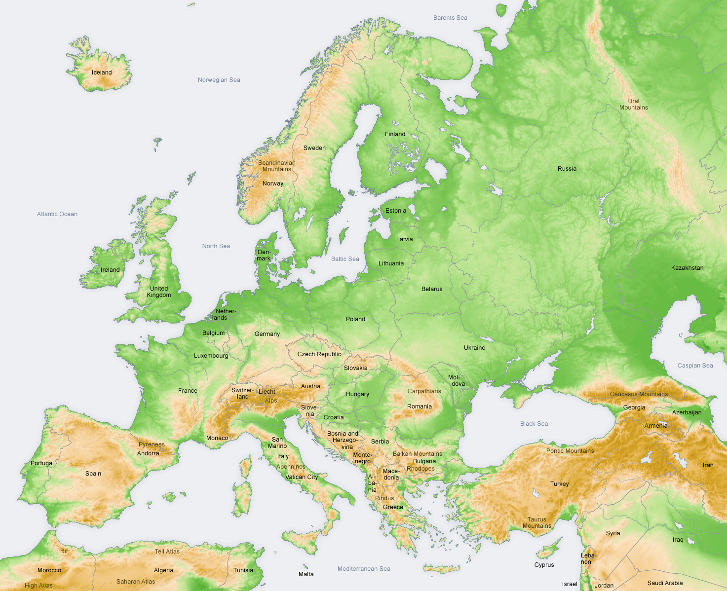 Topograficzna Mapa Europy