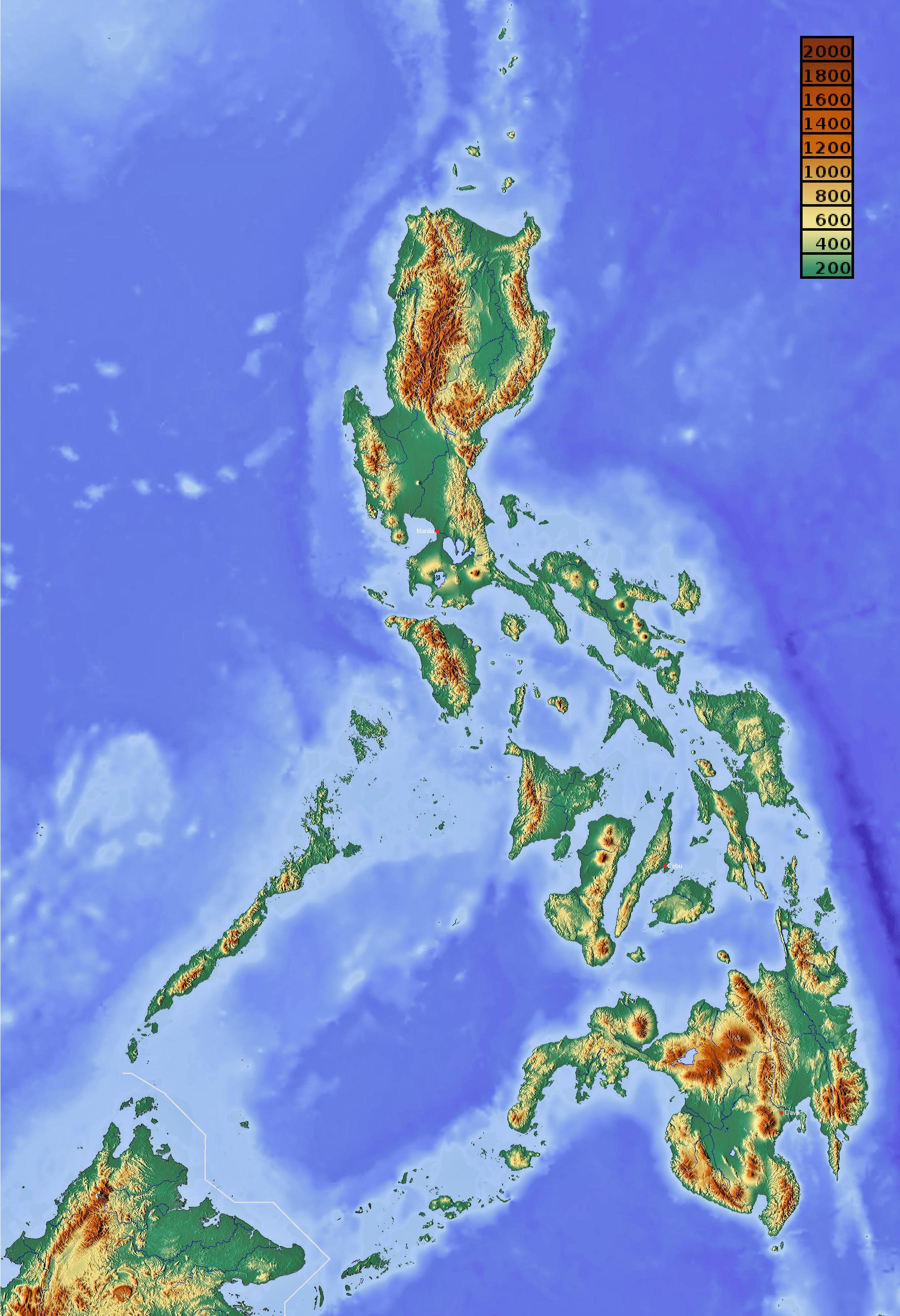 Mapa topograficzna Filipin