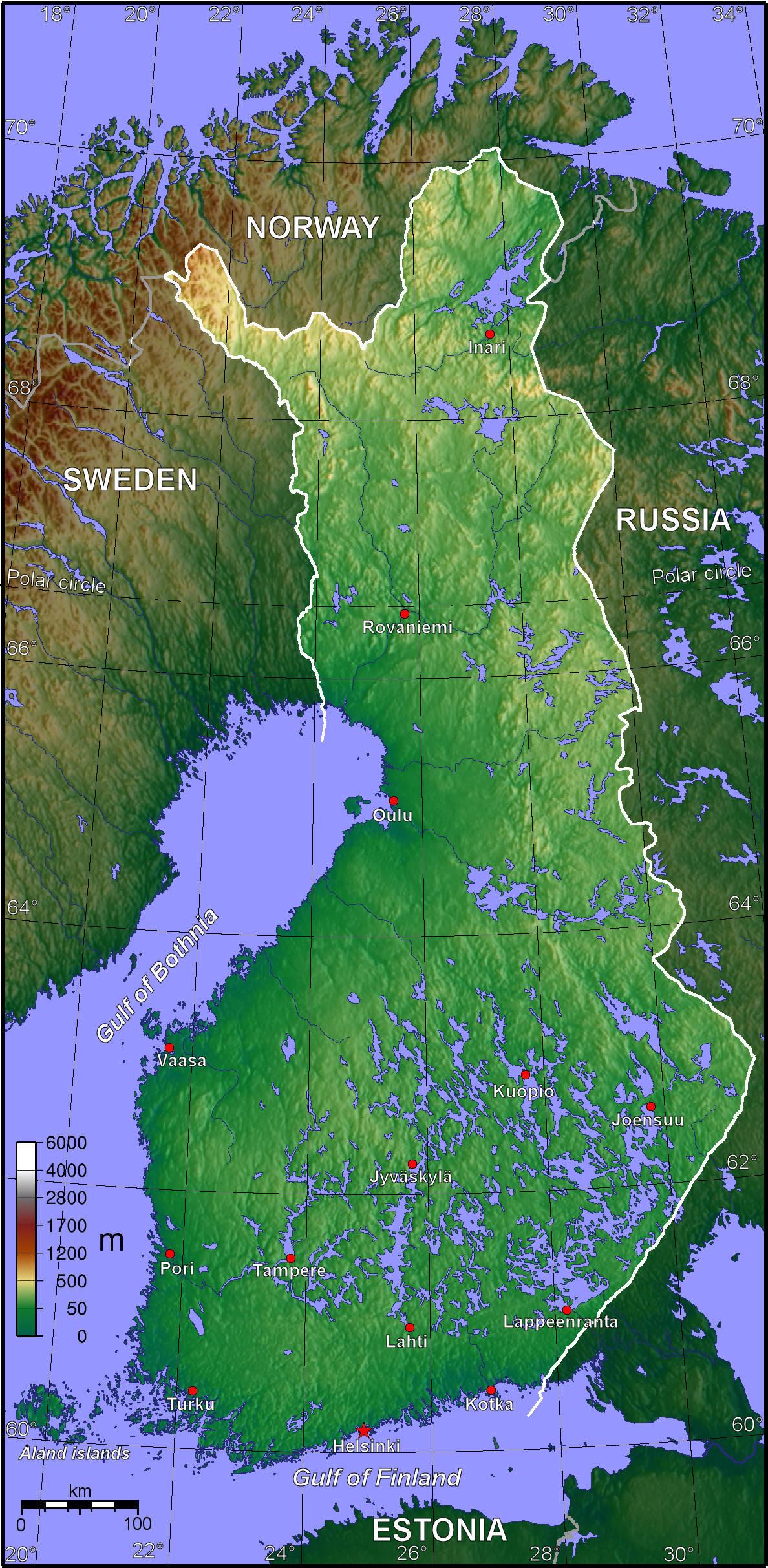 Mapa topograficzna Finlandii