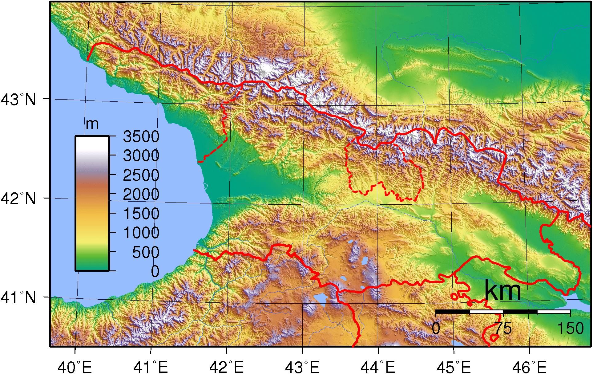 Mapa topograficzna Gruzji