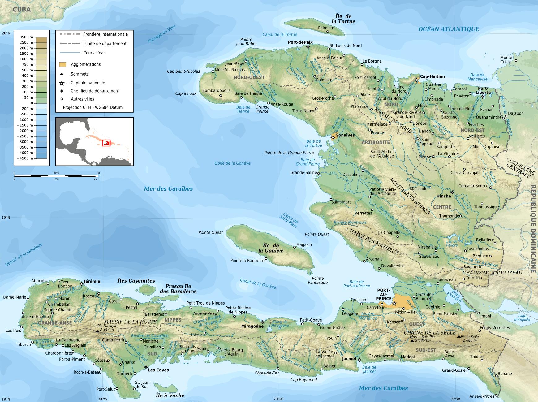 Mapa topograficzna Haiti