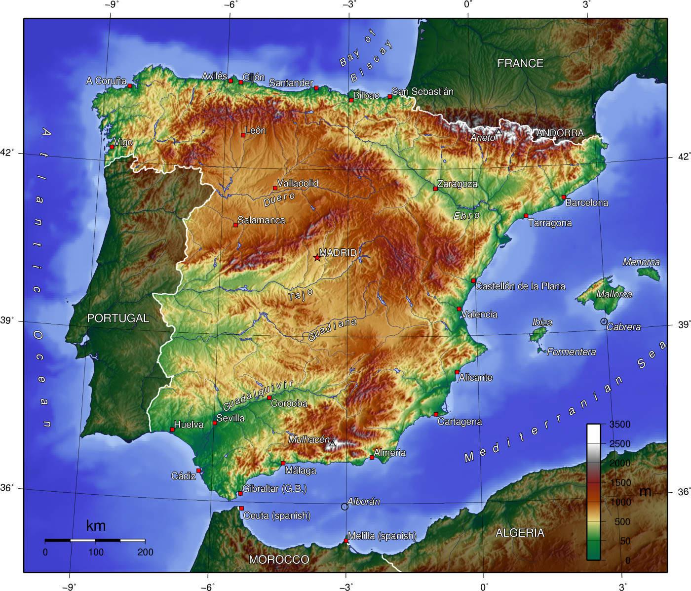 Mapa Hiszpanii Hiszpania Mapa Fizyczna Samochodowa I Inne