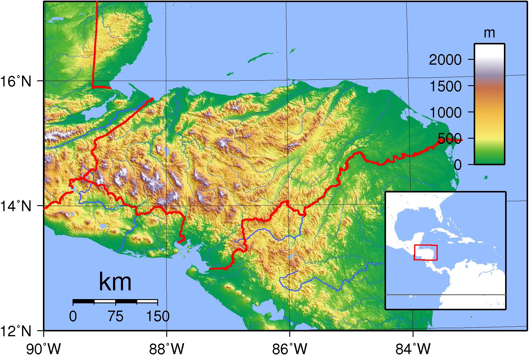 Mapa topograficzna Hondurasu