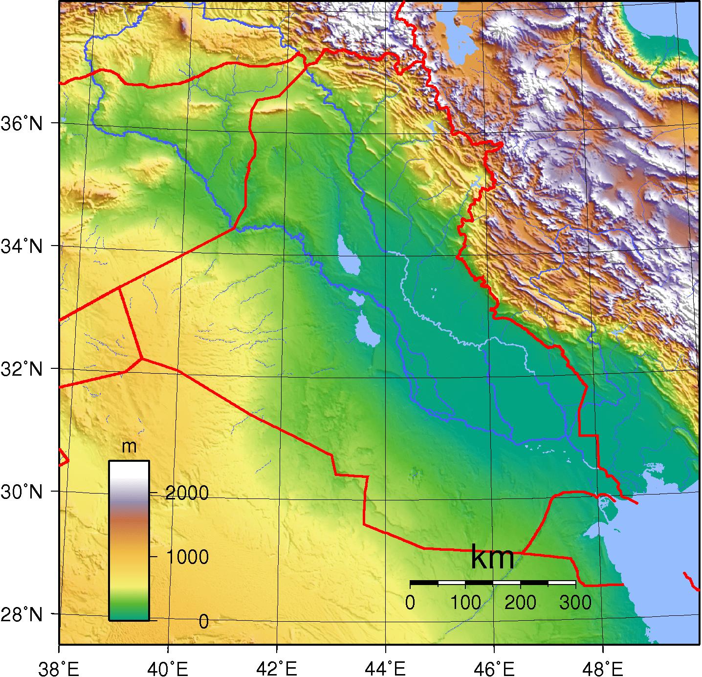 Mapa topograficzna Iraku