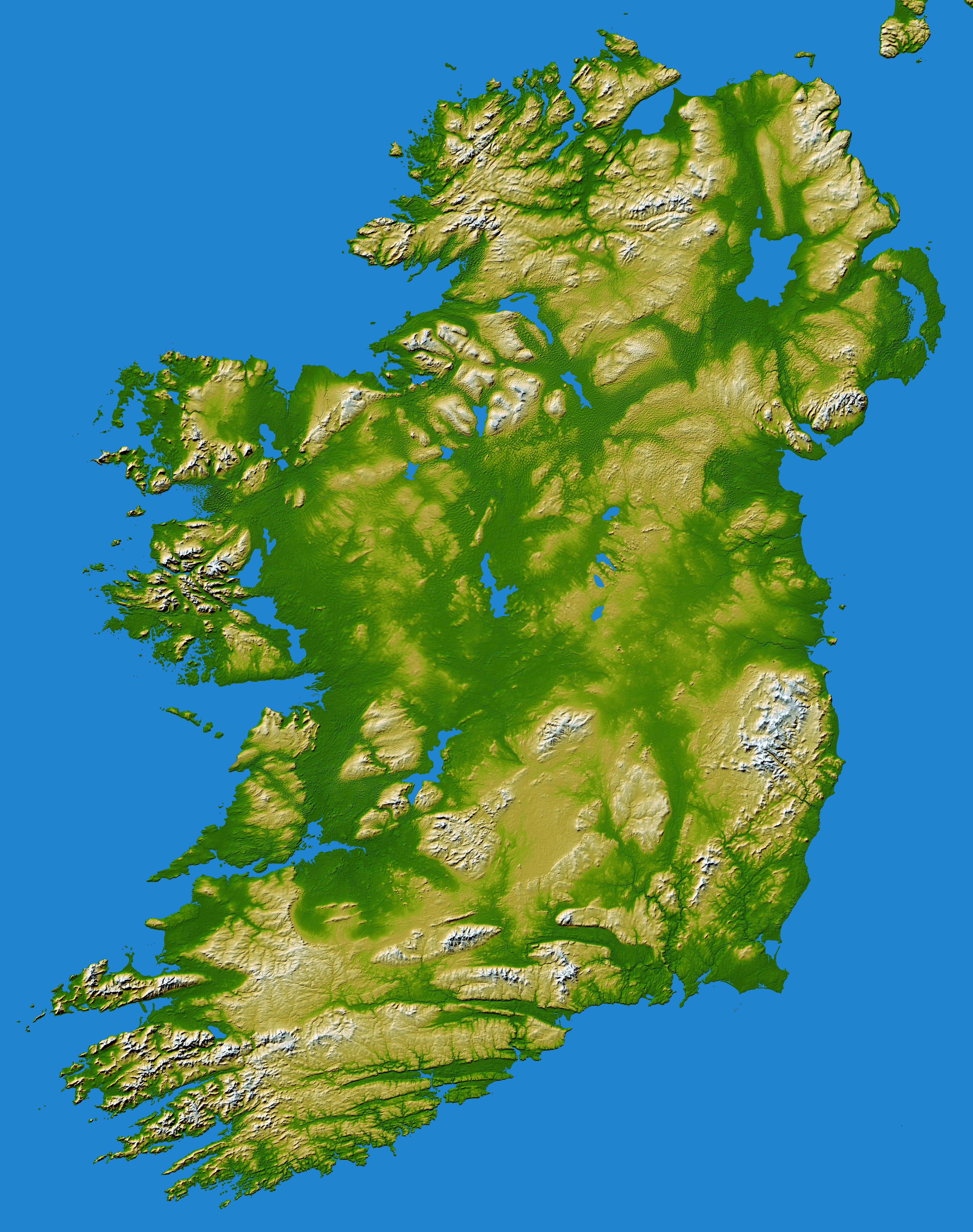Mapa topograficzna Irlandii