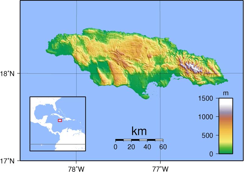 Mapa topograficzna Jamajki