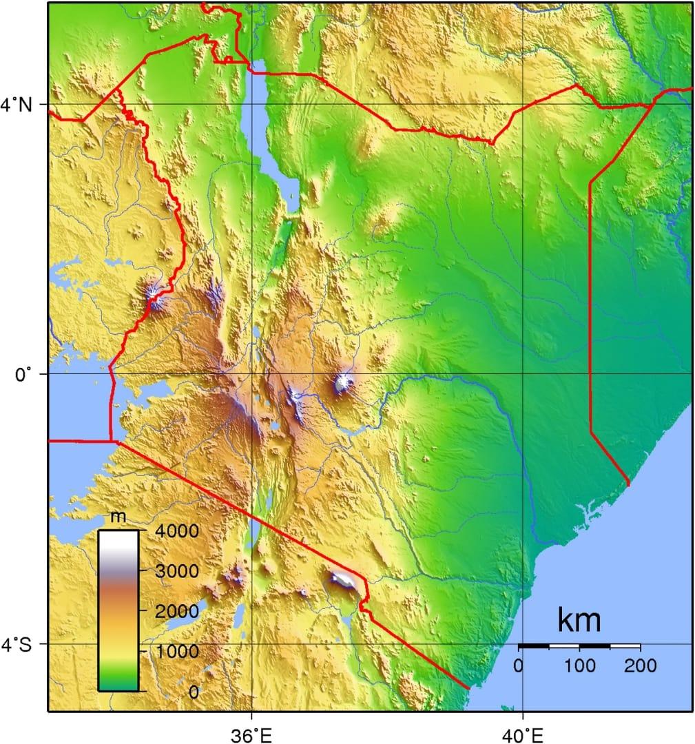 Mapa topograficzna Kenii