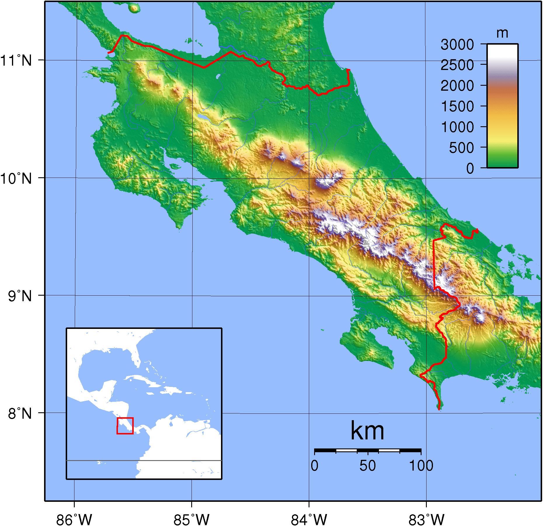 Mapa topograficzna Kostaryki
