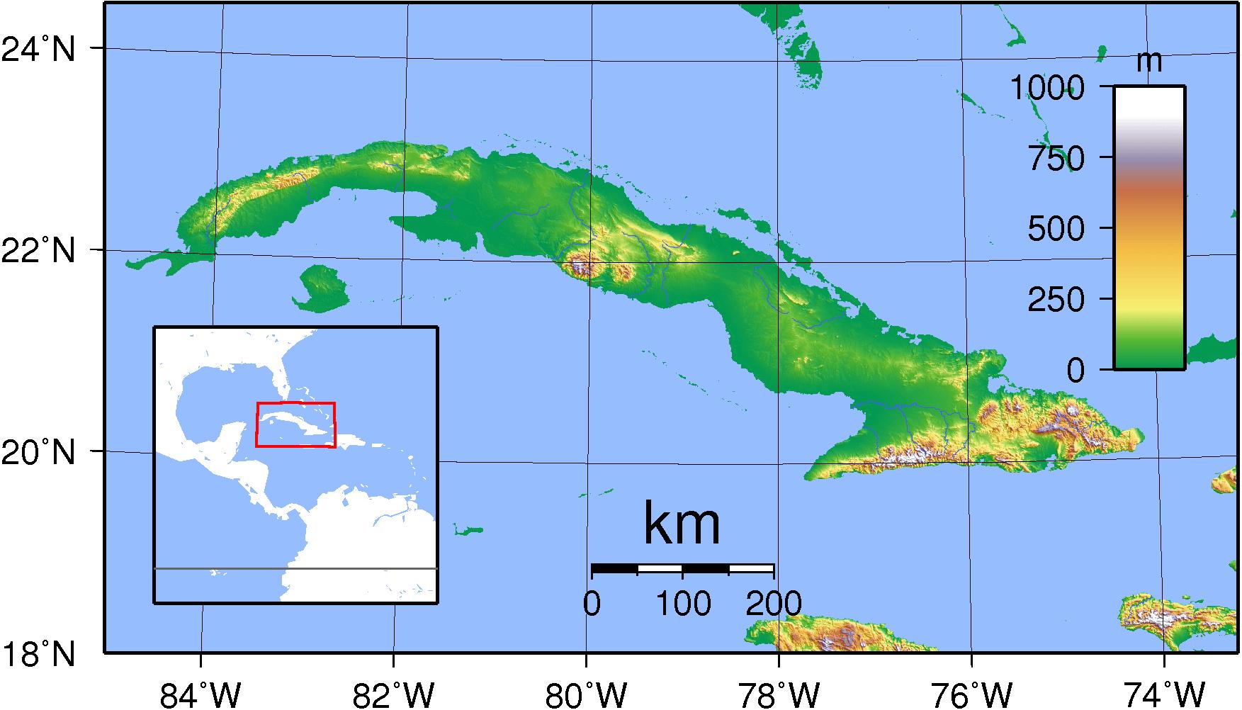 Mapa topograficzna Kuby
