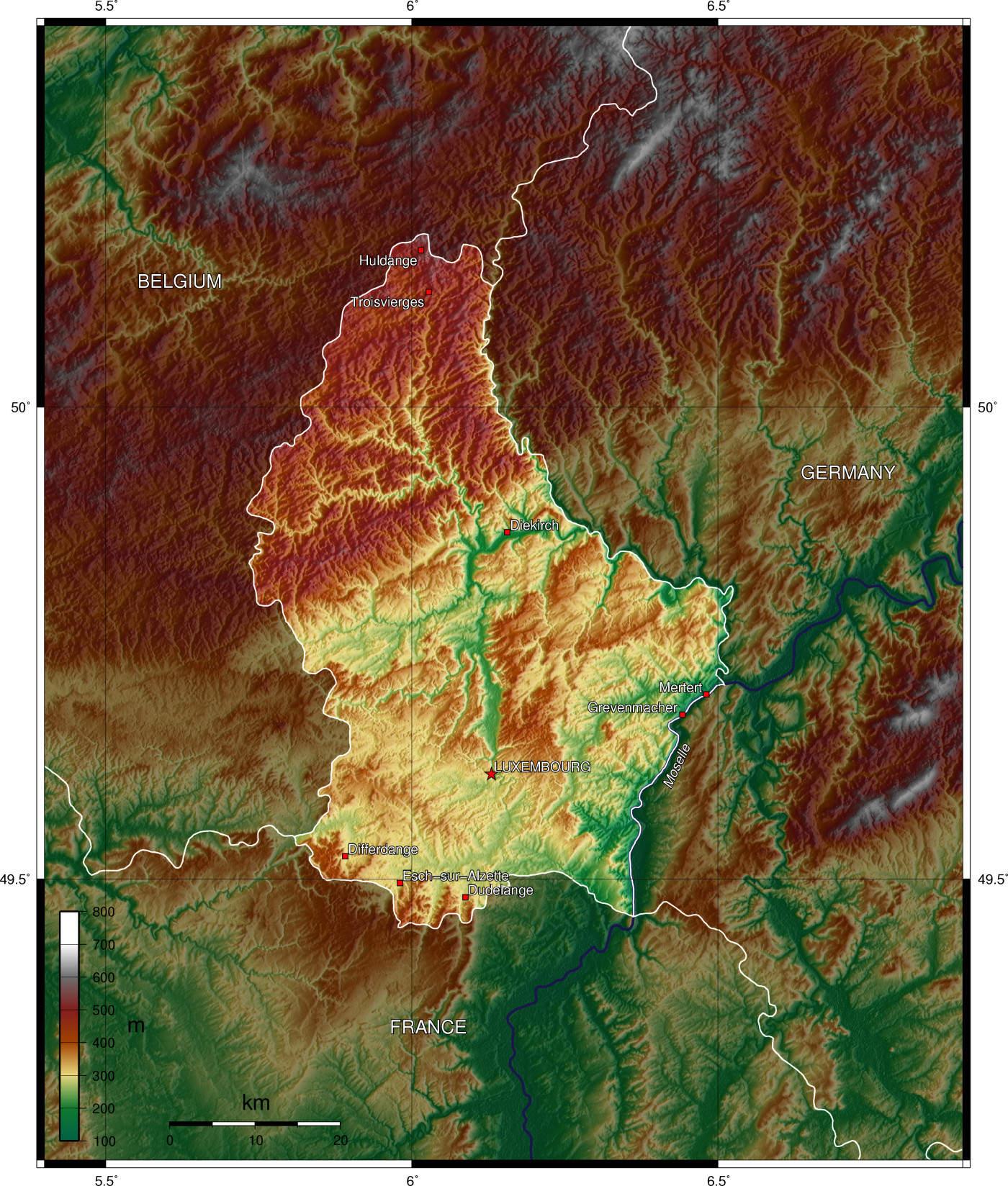 Mapa topograficzna Luksemburga