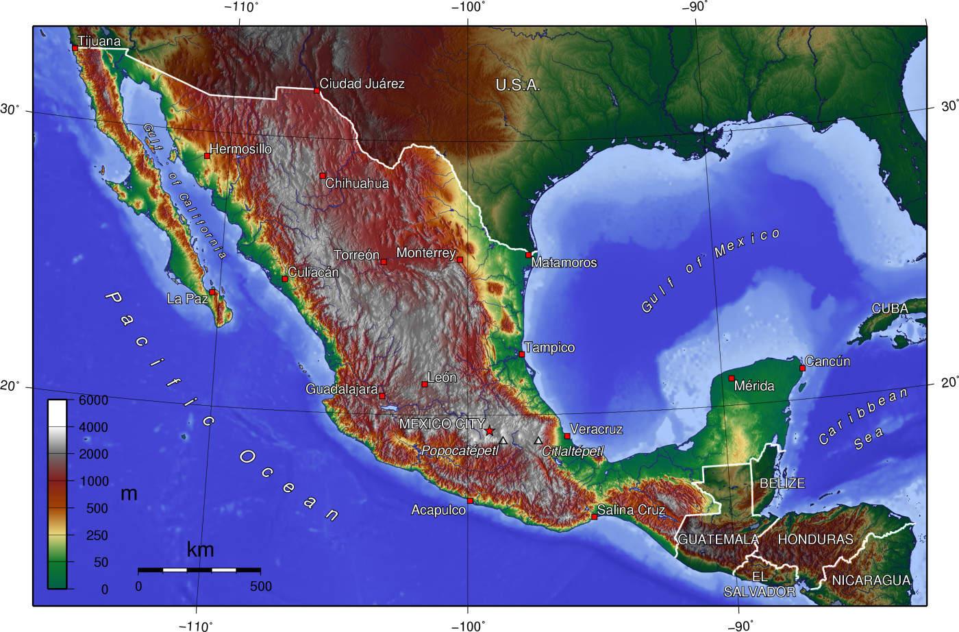 Mapa topograficzna Meksyku