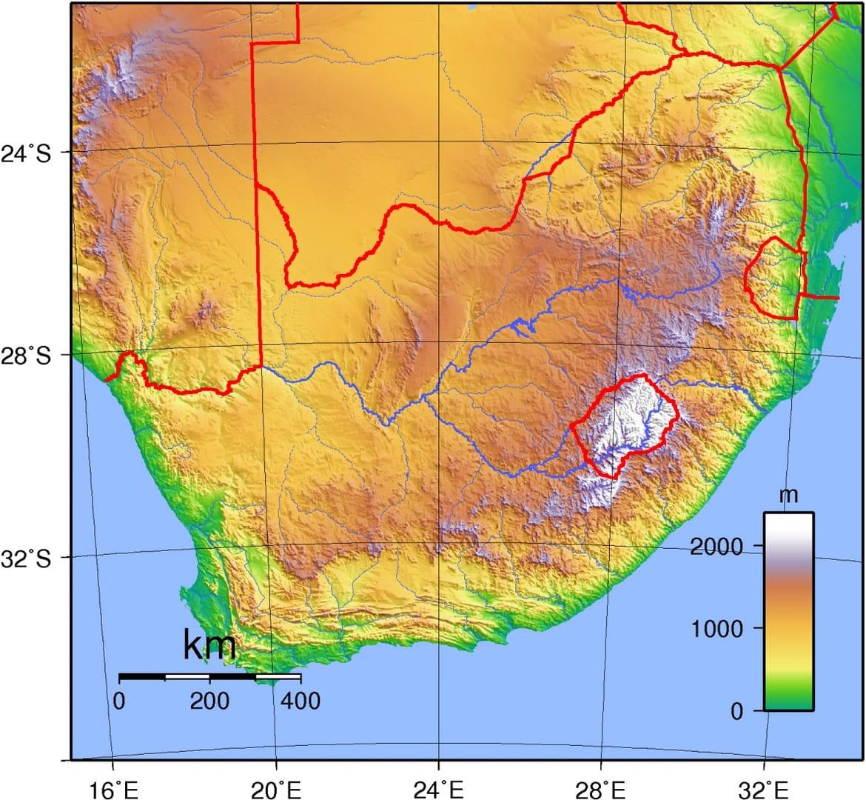 Mapa topograficzna RPA