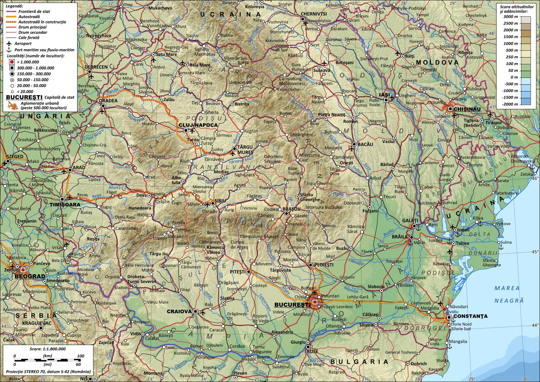 Mapa topograficzna Rumunii