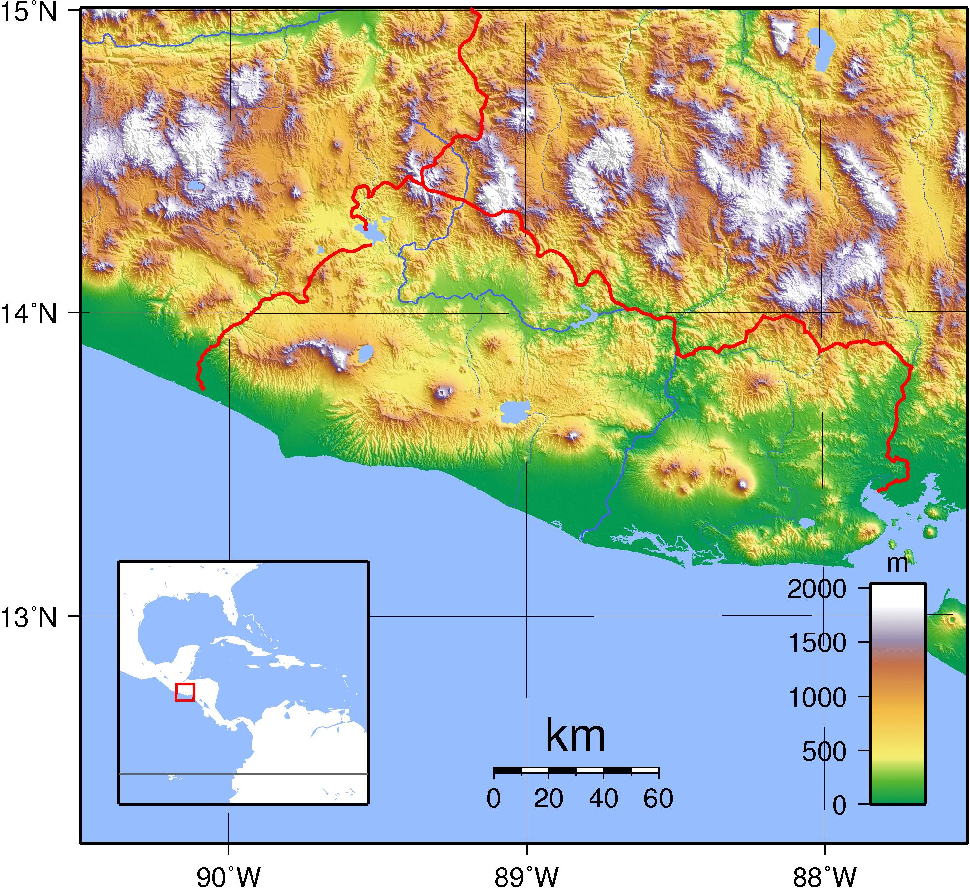 Mapa topograficzna Salwadoru