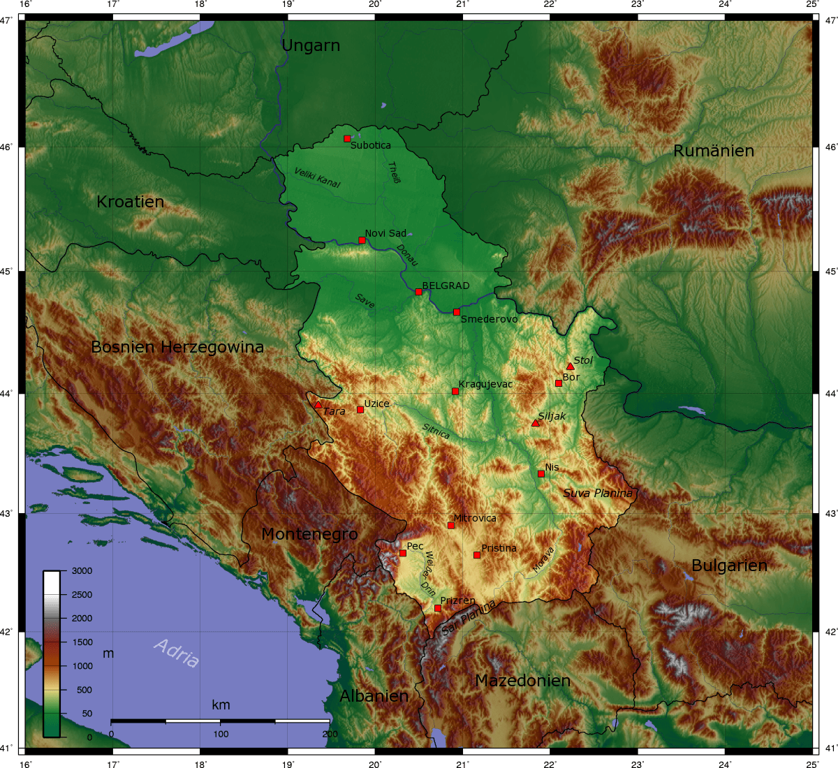 Mapa Serbii