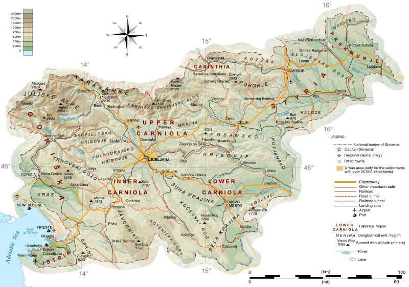 Mapa topograficzna Słowenii