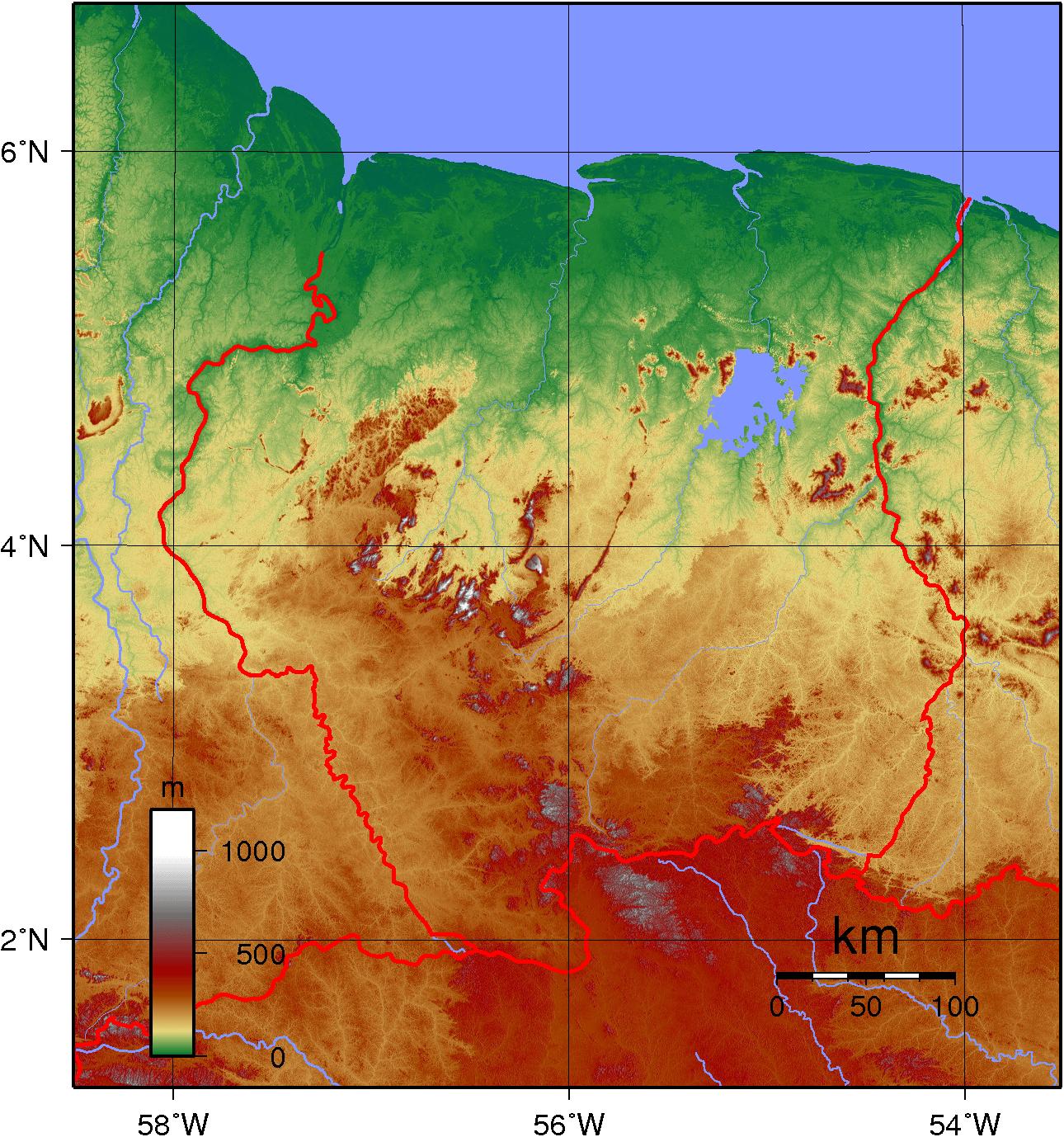 Mapa topograficzna Surinamu