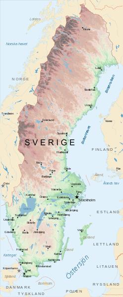 Mapa topograficzna Szwecji