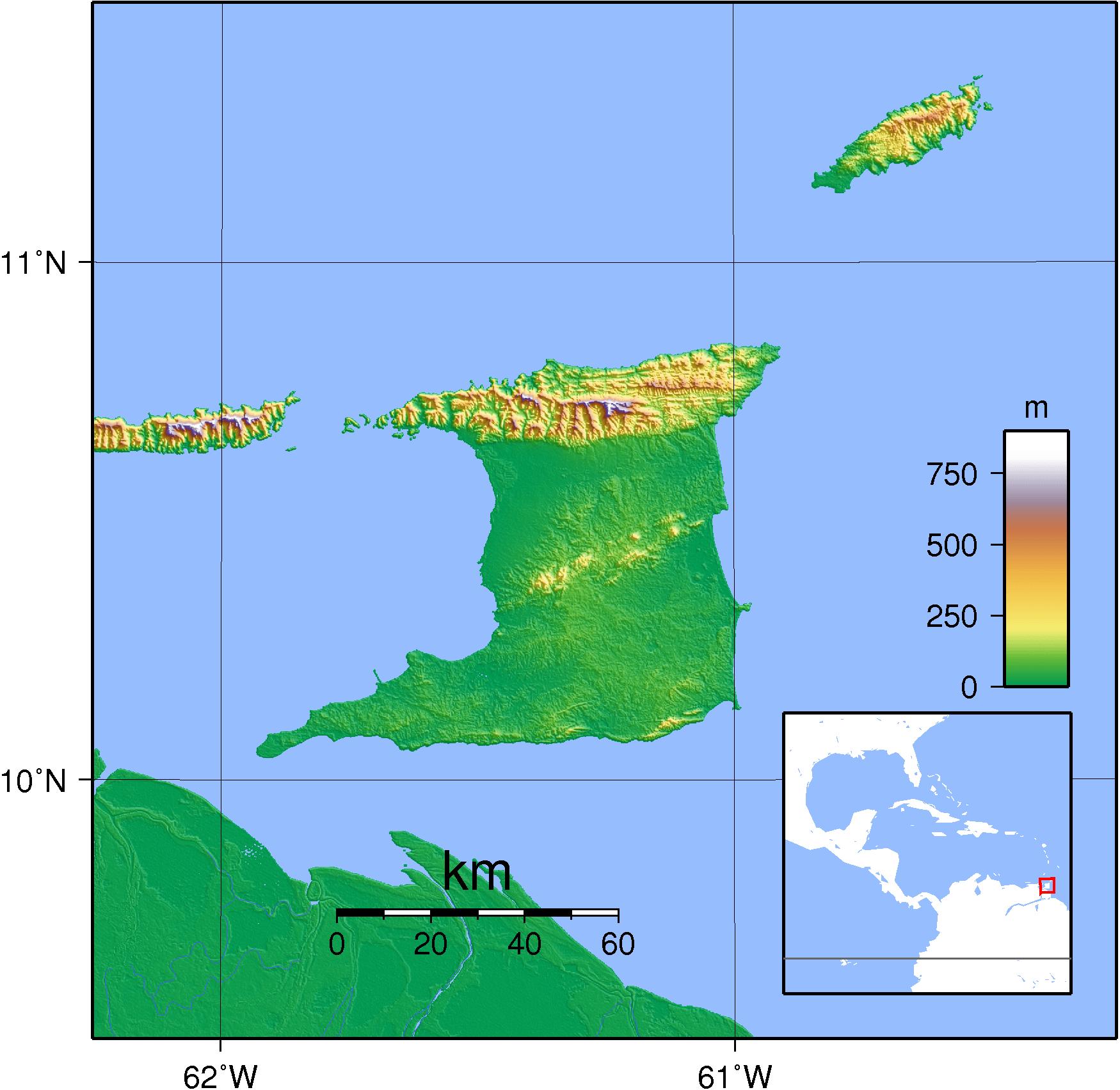 Mapa topograficzna Trynidadu i Tobago