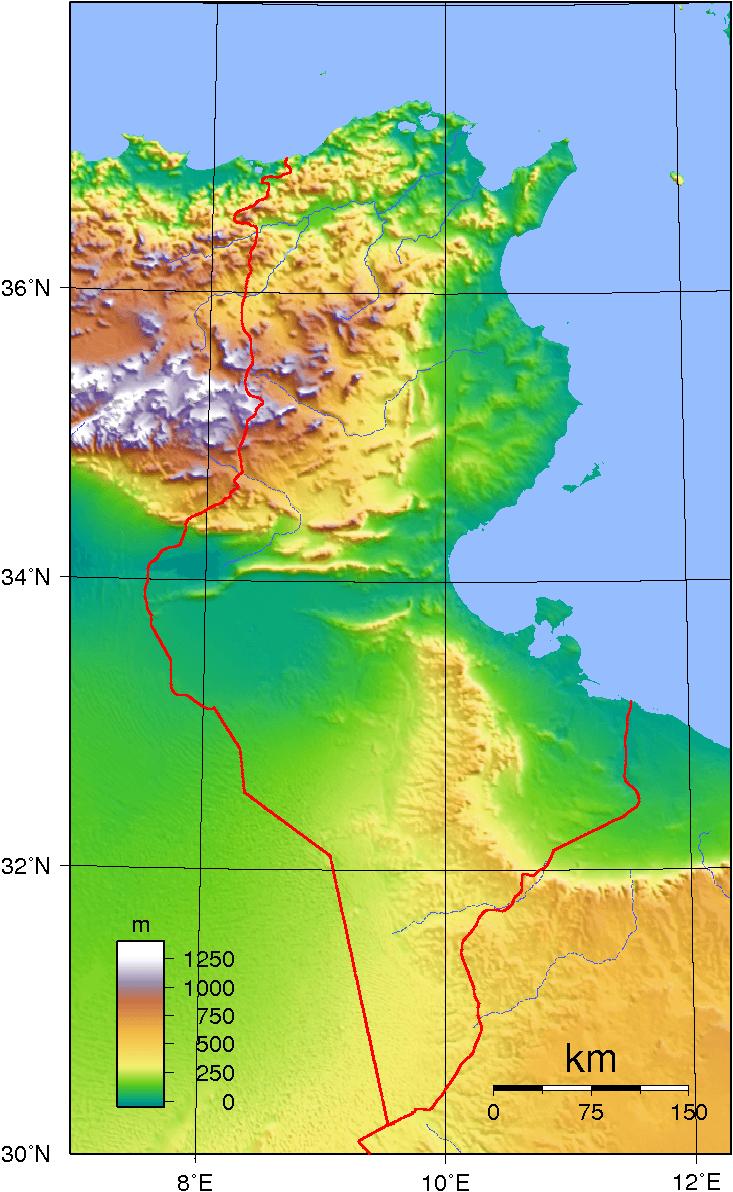 Mapa topograficzna Tunezji