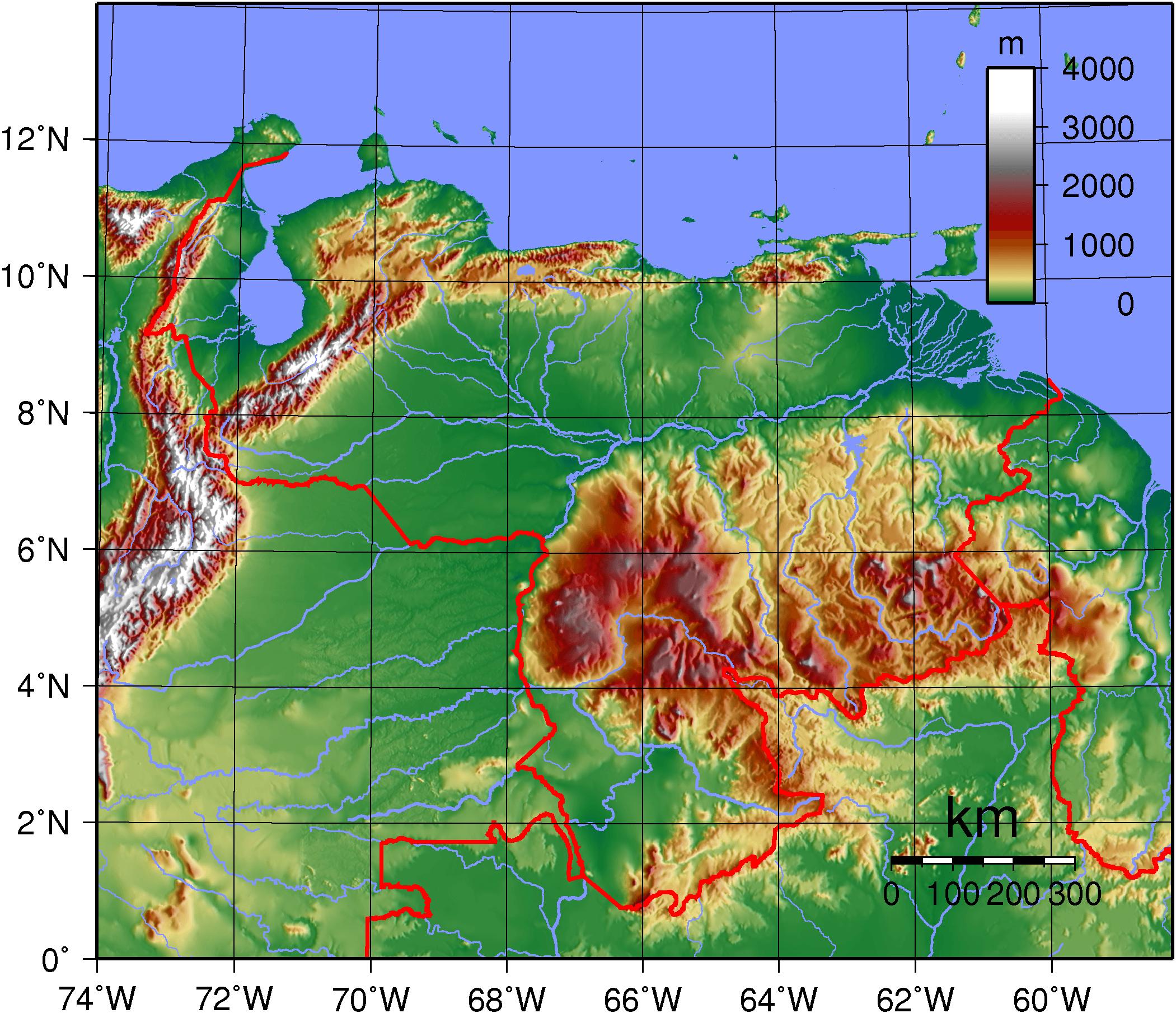 Mapa topograficzna Wenezueli