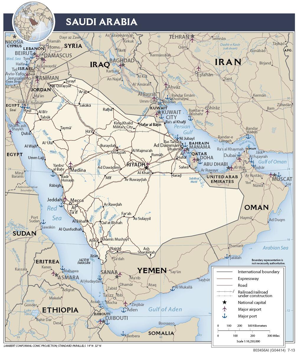 Mapa transportowa Arabii Saudyjskiej