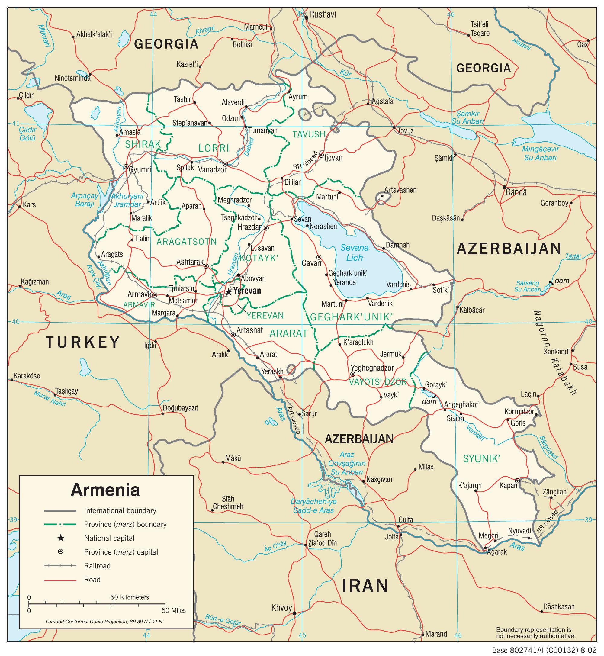 Mapa transportowa Armenii