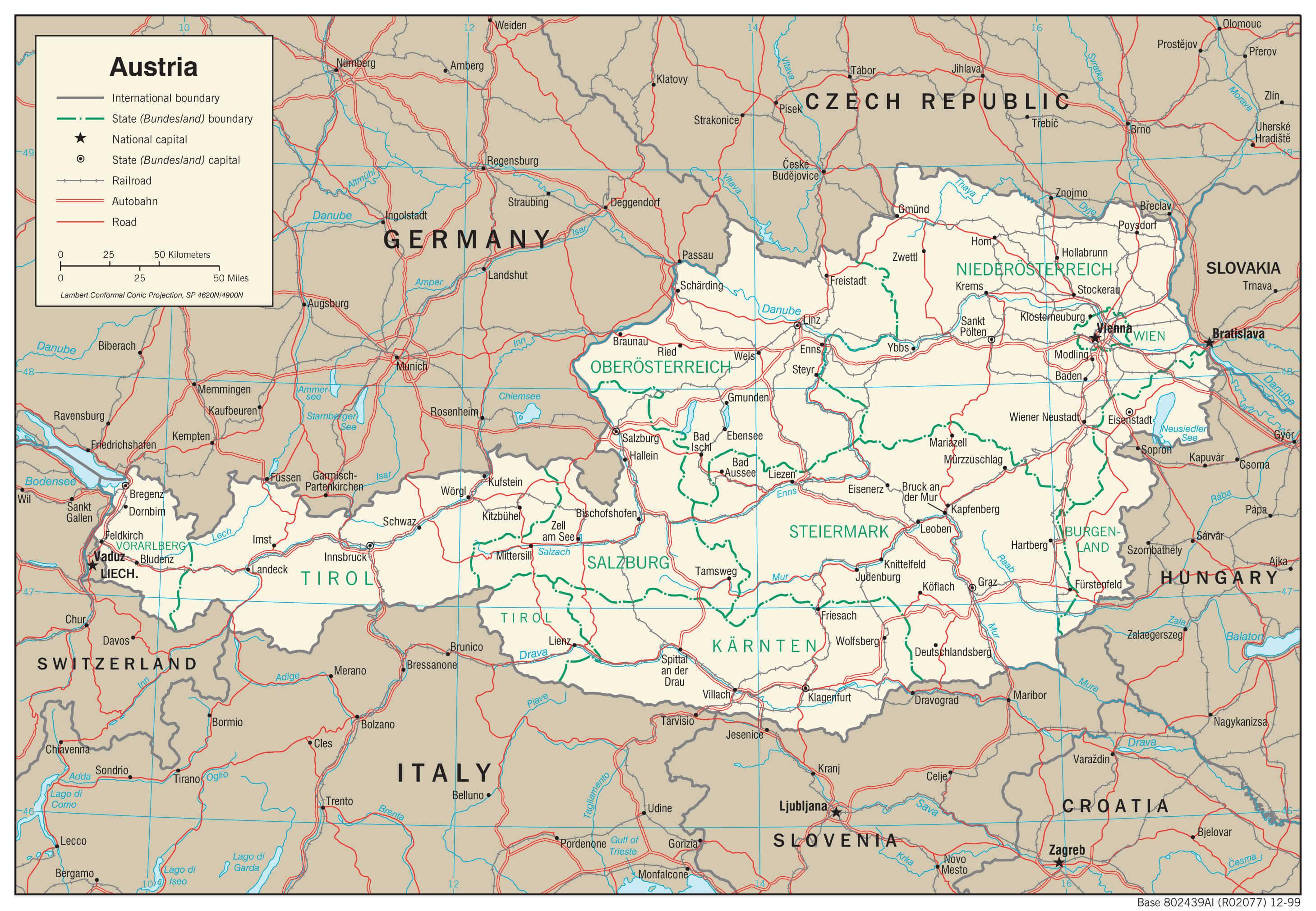 Mapa transportowa Austrii