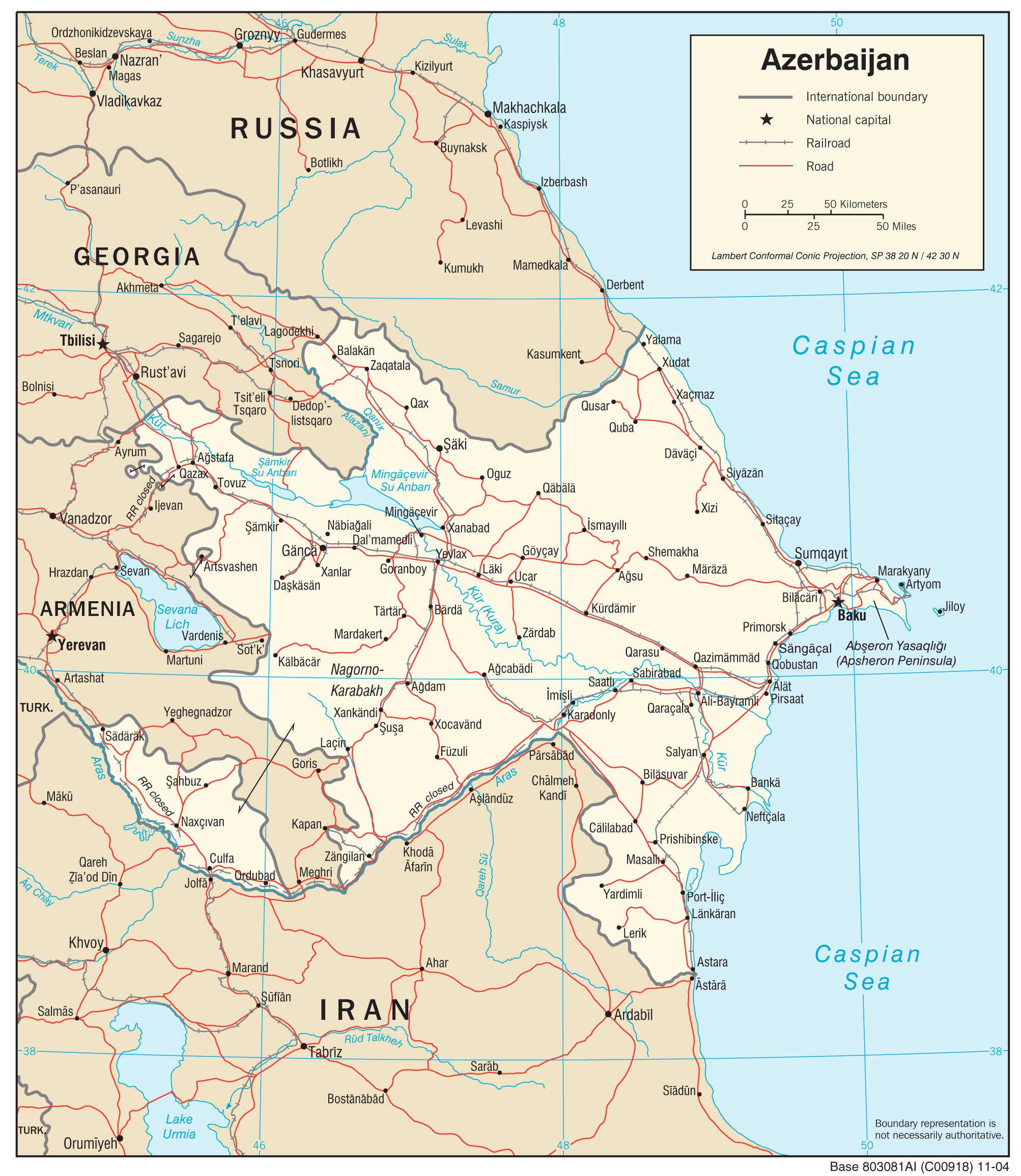 Mapa transportowa Azerbejdżanu