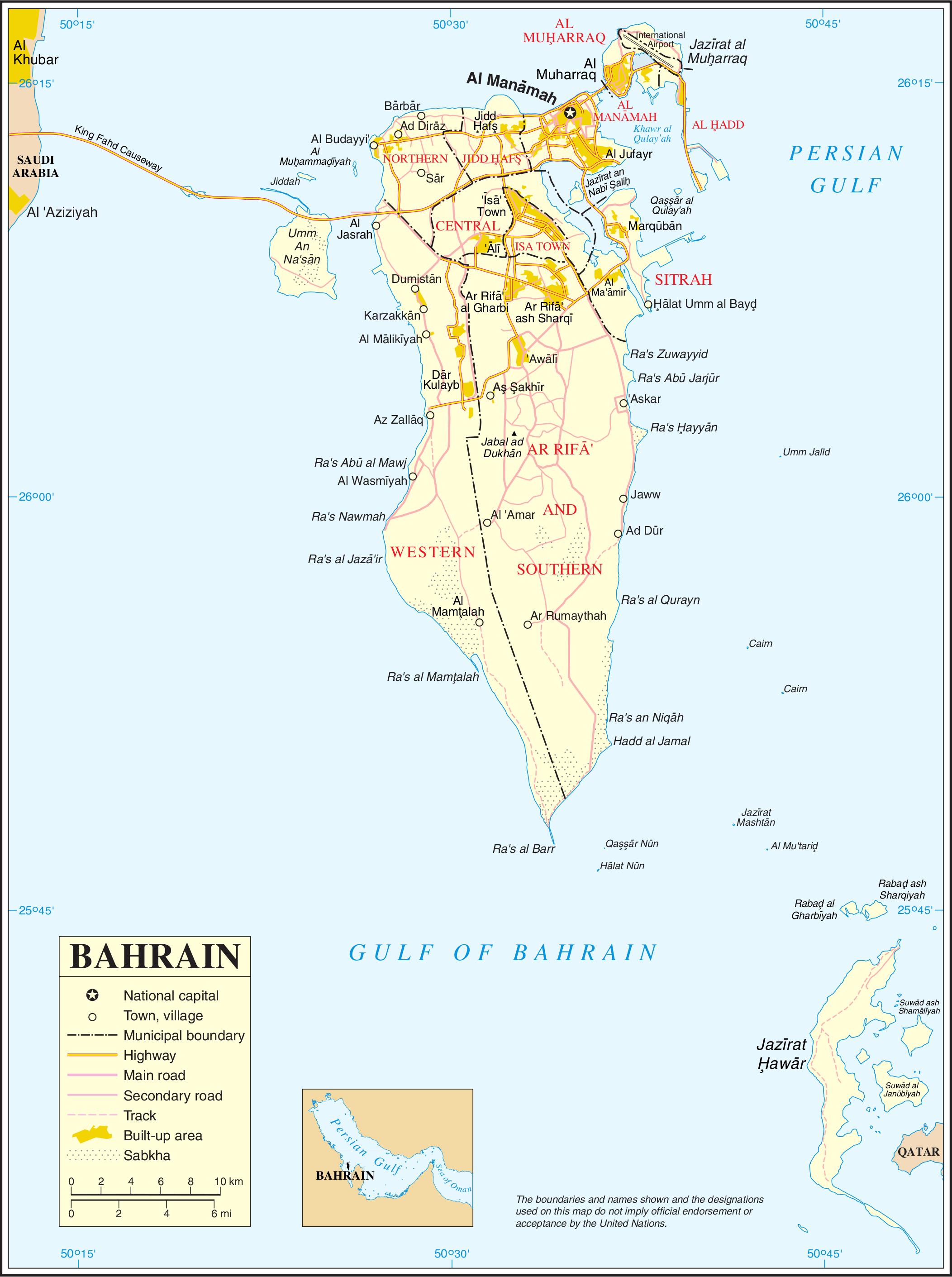 Mapa transportowa Bahrajnu