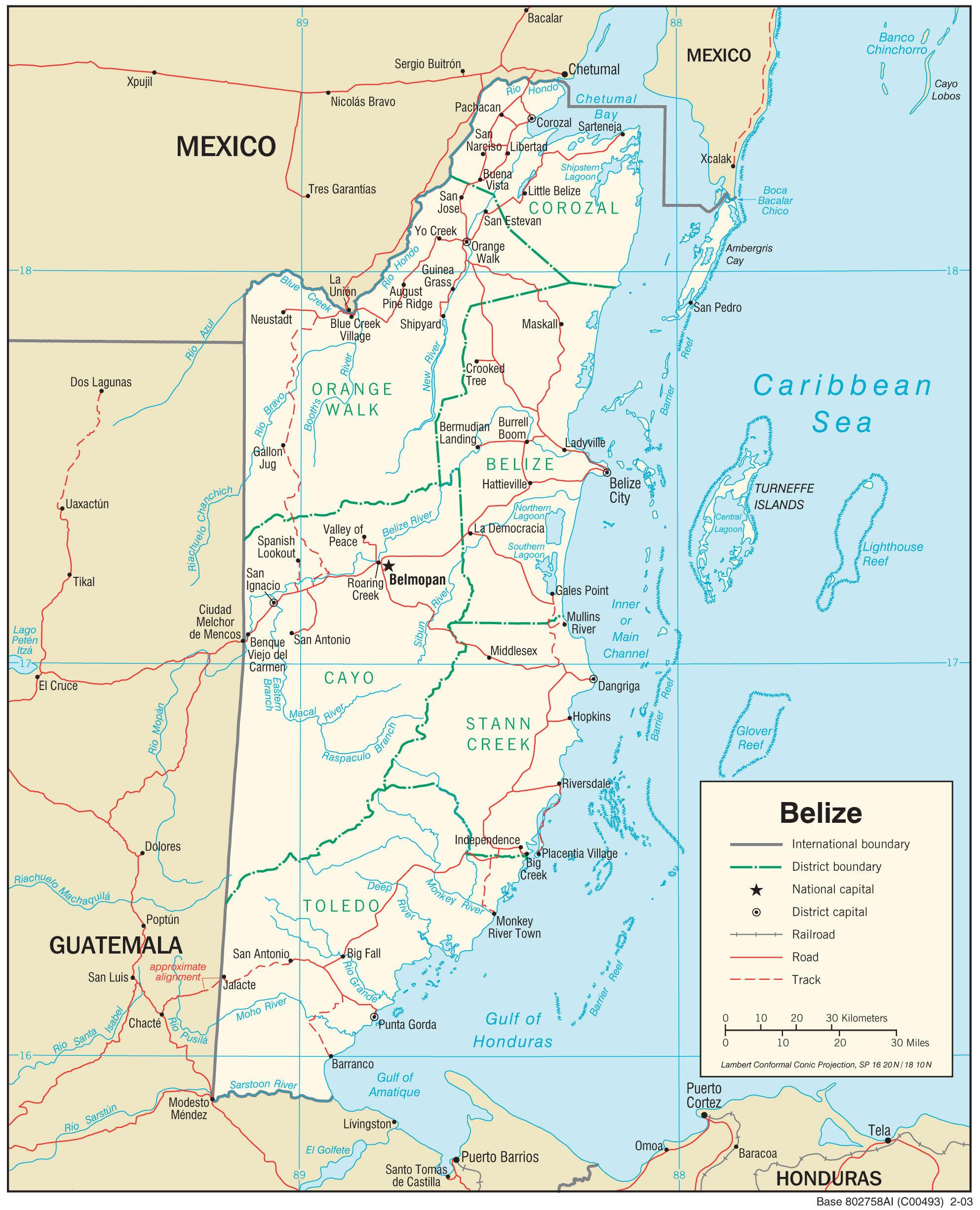 Mapa transportowa Belize