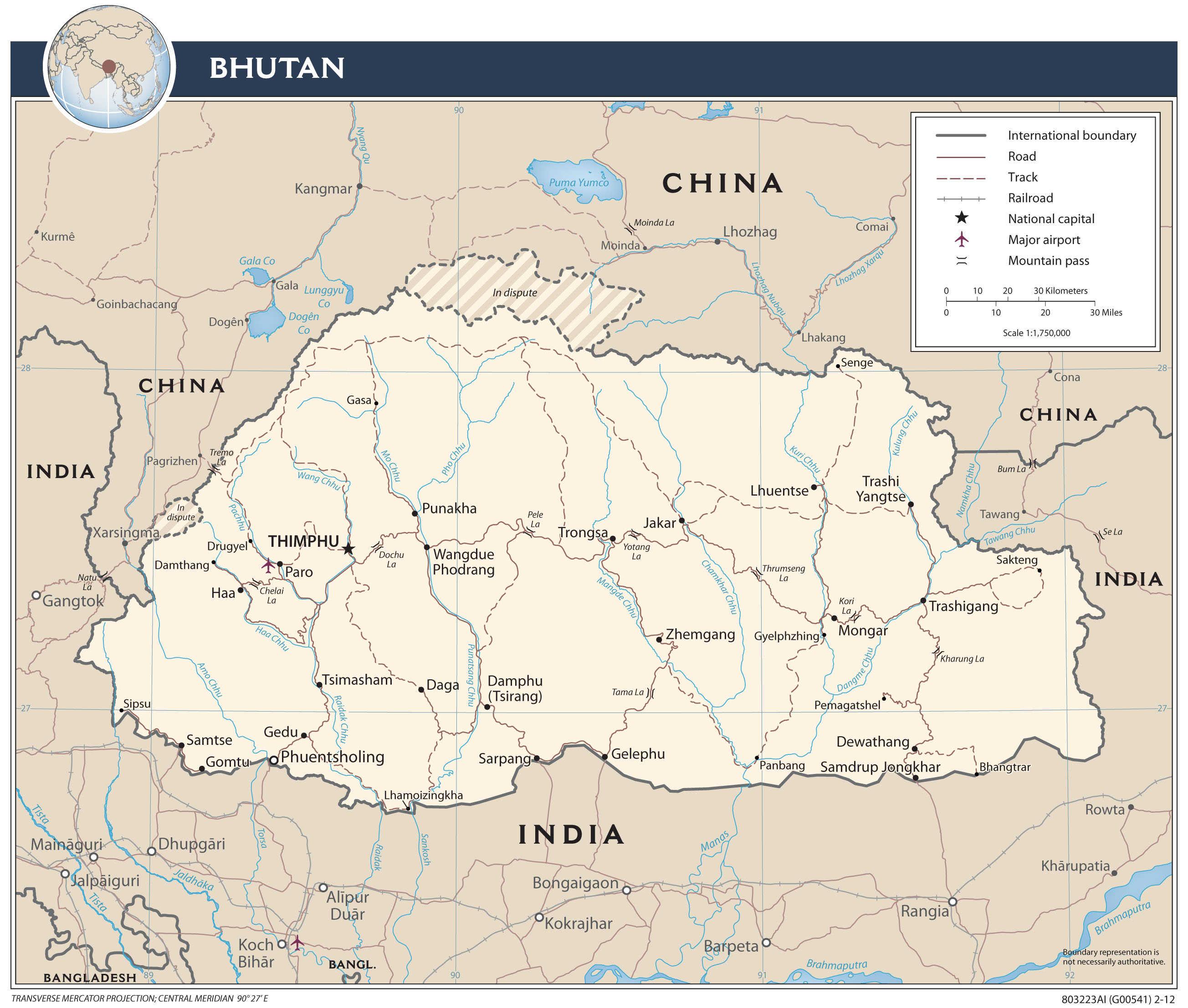 Mapa transportowa Bhutanu