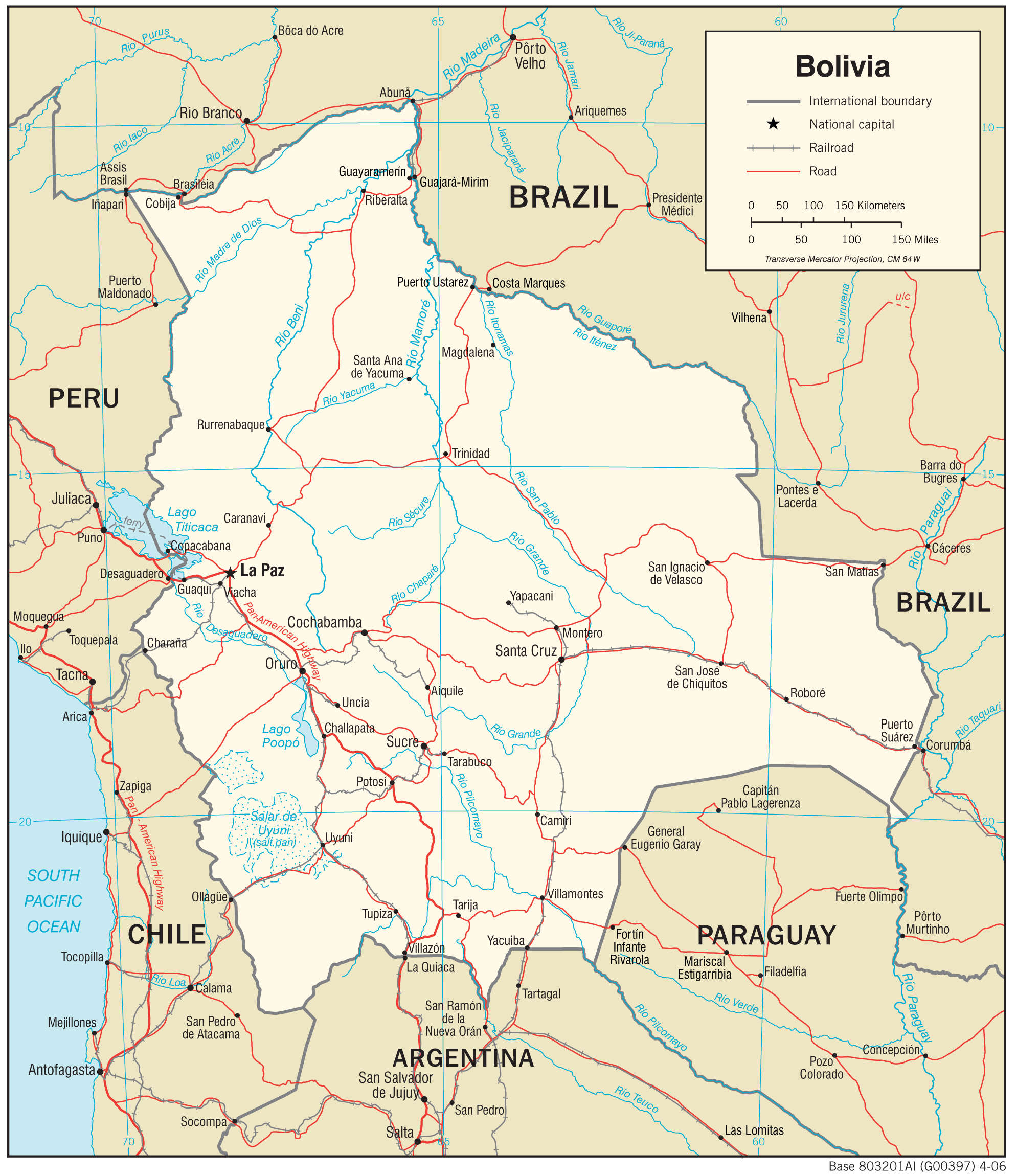Mapa transportowa Boliwii