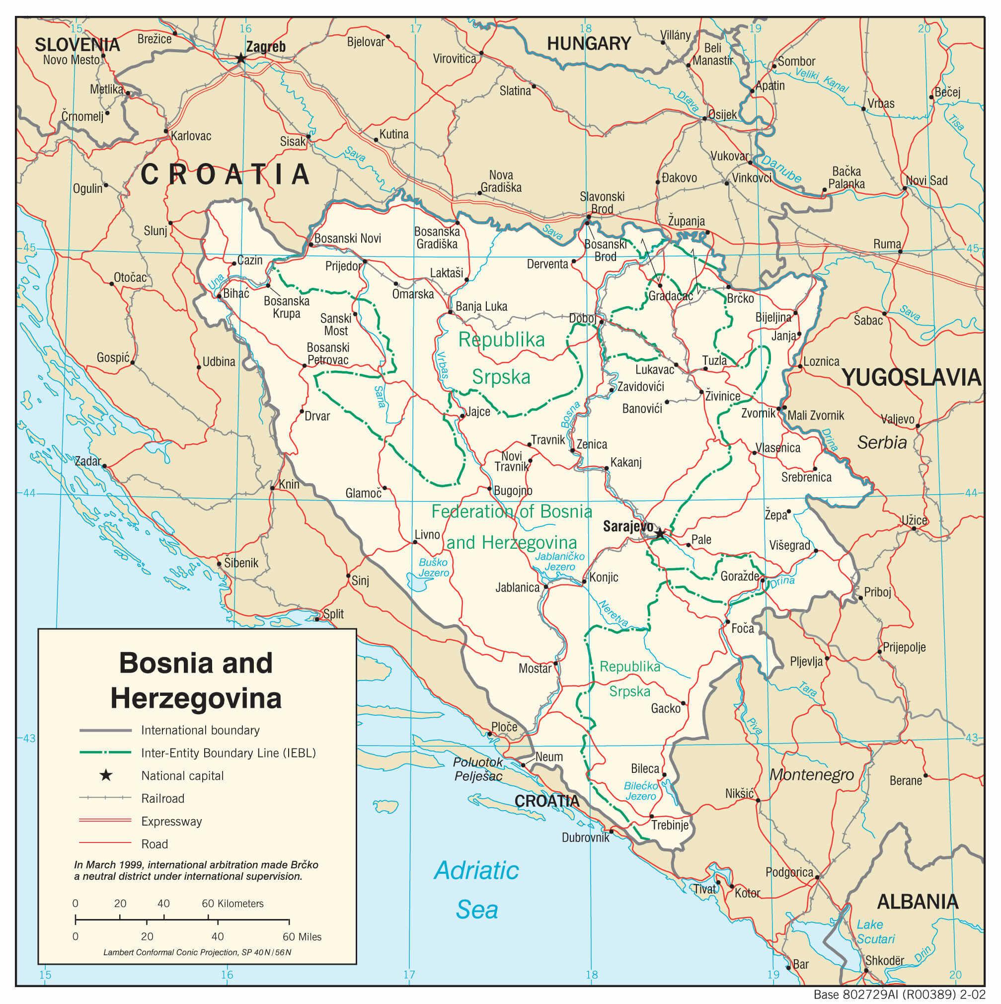 Mapa transportowa Bośni i Hercegowiny