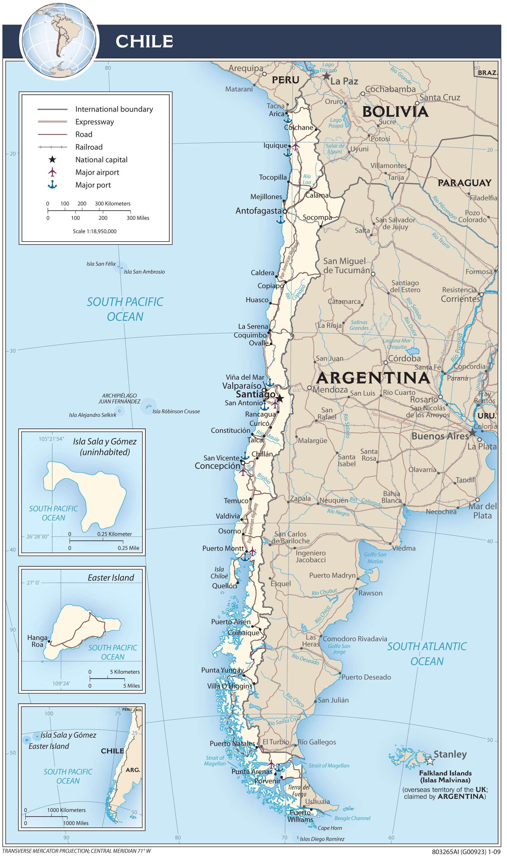 Mapa transportowa Chile
